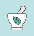 herbs in mortar icon vector image
