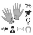hippodrome and horse monochrome icons in set vector image vector image