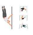 horizontal bar chin-up strong athlete man gym vector image vector image
