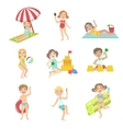 Kids Playing At the Beach Set vector image vector image