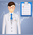 MD or cardiologist on a cardiogram background vector image vector image