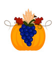 pumpkin with grapes and leaves thanksgiving vector image vector image