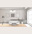 realistic lounge interior in light tones vector image vector image