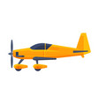 retro yellow airplane with propeller flying vector image