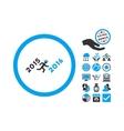 Run To 2016 Year Flat Icon With Bonus vector image vector image