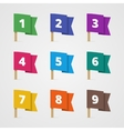 set colorful flags with numbers in flat style vector image