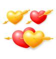 set hearts pierced cupid arrow vector image
