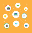 set of banking icons flat style symbols with piggy vector image