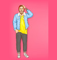 shocked man hipster with open mouth vector image vector image