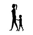 silhouette woman and her son walking holding hand vector image