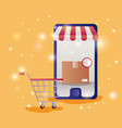 smartphone with parasol ecommerce icons vector image vector image