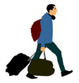 tourist man traveler carrying his rolling suitcase vector image