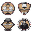 vintage colored gentleman emblems set vector image