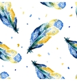 Watercolor seamless pattern with feathers vector image