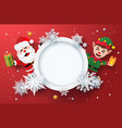 winter holiday card with santa claus and elf vector image vector image