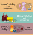 woman clothes banner set for shopping vector image vector image
