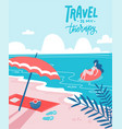 young woman on beautiful palm beach on swim vector image vector image