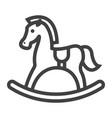 rocking horse line icon wooden toy vector image