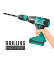 hand drill or drilling machine fitted cutting or vector image