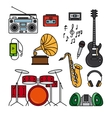 Music and musical instruments line icons vector image