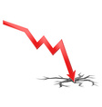 3D of falling economy vector image vector image