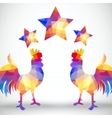 Abstract rooster of geometric shapes with stars vector image vector image