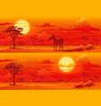 african savanna sunset animals landscape vector image