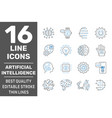 ai and iiot related set icons digital brain vector image vector image