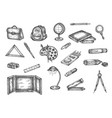back to school hand drawn set doodle vector image
