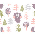 bear in woods pattern vector image vector image