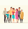 big family taking flat color vector image
