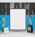 black friday tablets sale banner template vector image