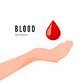 blood donation concept world blood donor day hand vector image vector image