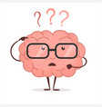 brain cartoon with questions and glasses human vector image vector image