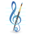 brush and treble clef vector image vector image