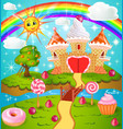 candy land with waffle and cream castle lollipops vector image vector image