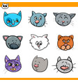 cartoon cats and kittens icons set vector image vector image