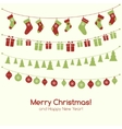 Christmas greeting card with garlands vector image vector image