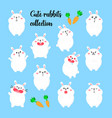 collection cartoon rabbits funny vector image