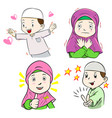collection of muslim kids cartoon vector image vector image