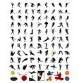 collection of silhouettes of sportsmen vector image vector image