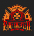 colorful firefighter logotype vector image vector image
