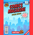 comic book cover page city superhero empty comics vector image