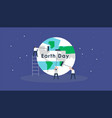 earth day concept card people team cleaning planet vector image