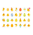easter chicken characters and egg set egg hunt vector image