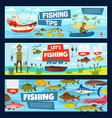 fishing boat fisher fish catch tackles equipment vector image