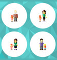 flat icon people set of grandpa son daugther vector image vector image