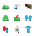 Football icons set cartoon style vector image vector image
