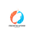 fresh seafood logo template vector image vector image