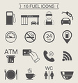 Gas station icons Fuel icons Monochrome vector image vector image